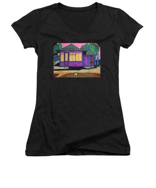 Women's V-Neck T-Shirt (Junior Cut) featuring the drawing Gasoline Alley Mobil Oil. Historic Menominee Art. by Jonathon Hansen