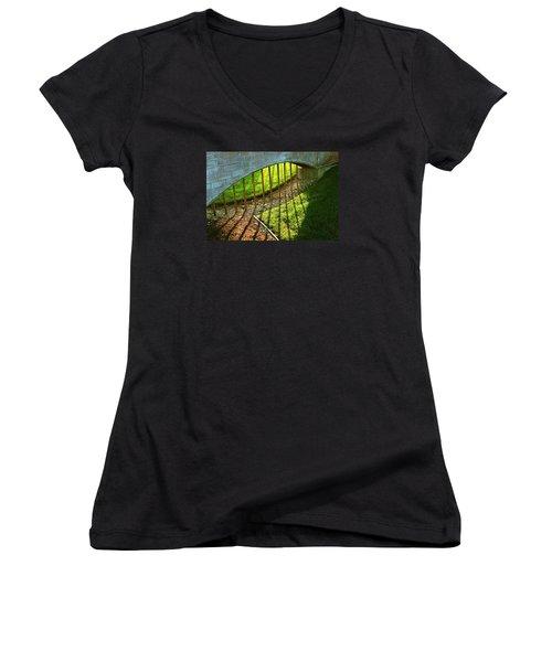 Women's V-Neck T-Shirt (Junior Cut) featuring the photograph Gate-redemption by Joseph Hawkins