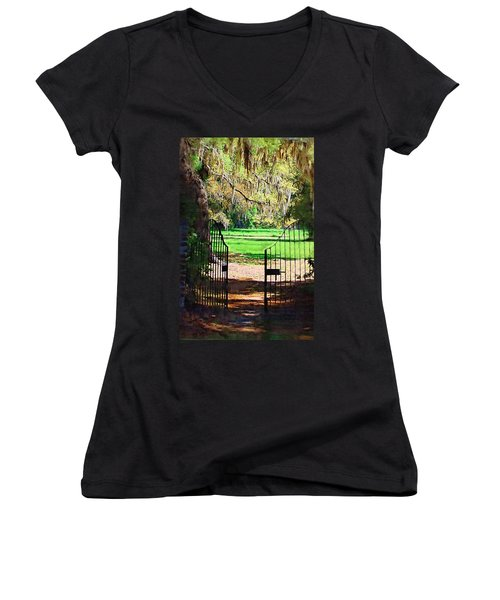 Gate To Heaven Women's V-Neck T-Shirt (Junior Cut) by Donna Bentley