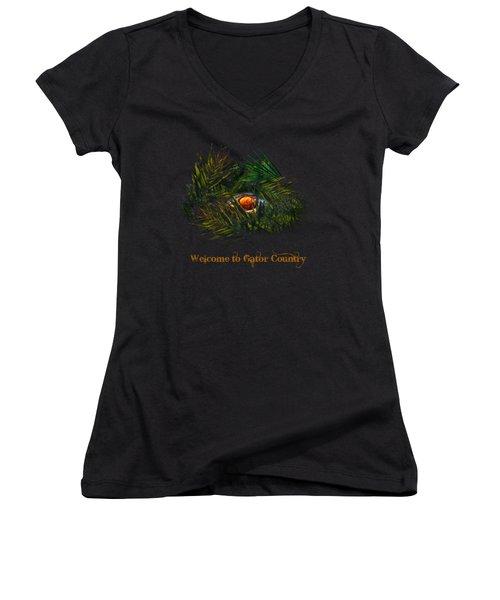 Gator Country  Women's V-Neck T-Shirt (Junior Cut) by Mark Andrew Thomas
