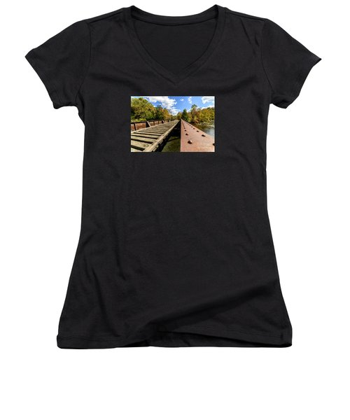Gauley River Railroad Trestle Women's V-Neck T-Shirt (Junior Cut) by Thomas R Fletcher
