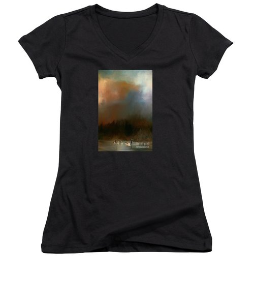 Geese On A Nh Lake Women's V-Neck T-Shirt (Junior Cut) by Mim White