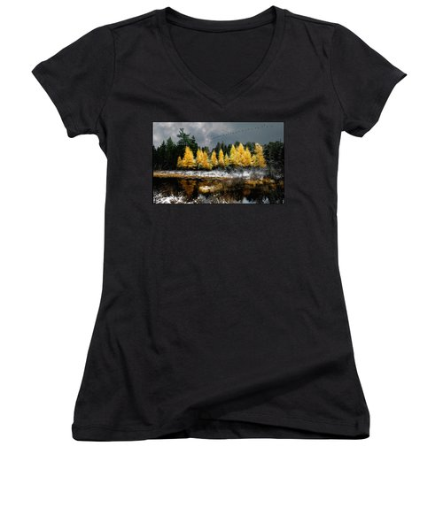 Geese Over Tamarack Women's V-Neck T-Shirt