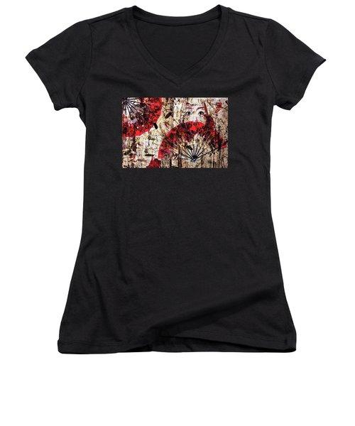 Geisha Grunge Women's V-Neck T-Shirt (Junior Cut) by Paula Ayers