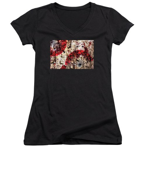 Geisha Grunge Women's V-Neck T-Shirt