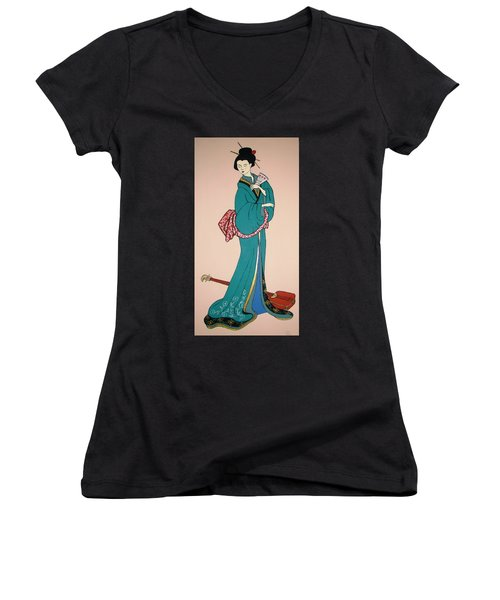 Women's V-Neck T-Shirt (Junior Cut) featuring the painting Geisha With Guitar by Stephanie Moore