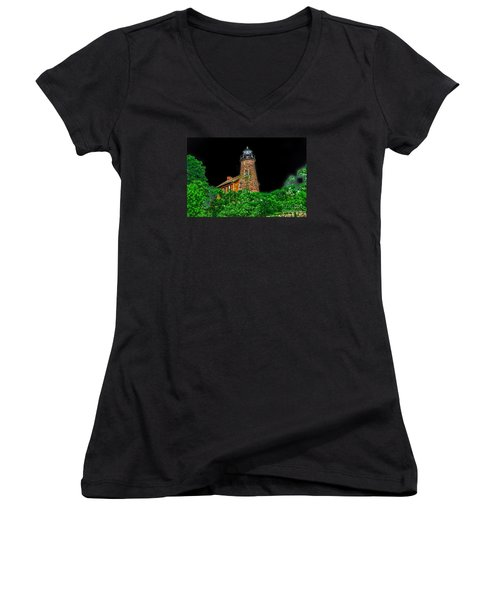 Genesee Lighthouse Women's V-Neck T-Shirt (Junior Cut) by William Norton
