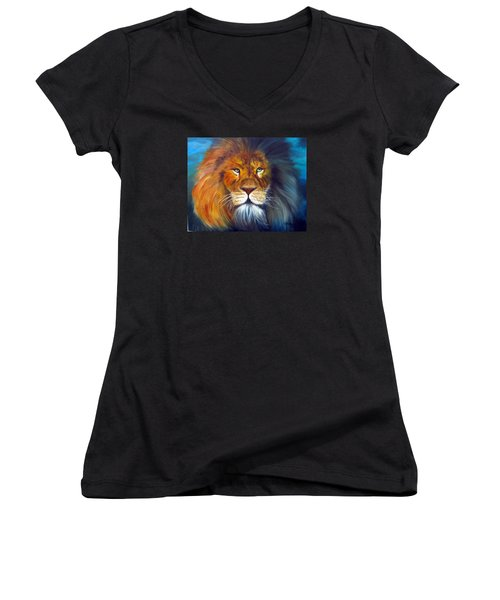 Women's V-Neck T-Shirt (Junior Cut) featuring the painting Gentle Lion King by LaVonne Hand