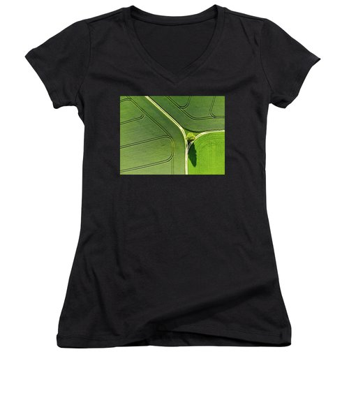 Geometric Landscape 05 Tree And Green Fields Aerial View Women's V-Neck