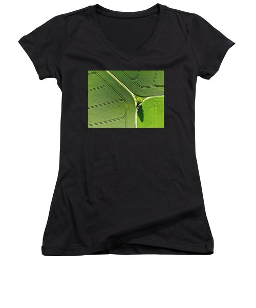 Women's V-Neck featuring the photograph Geometric Landscape 05 Tree And Green Fields Aerial View by Matthias Hauser