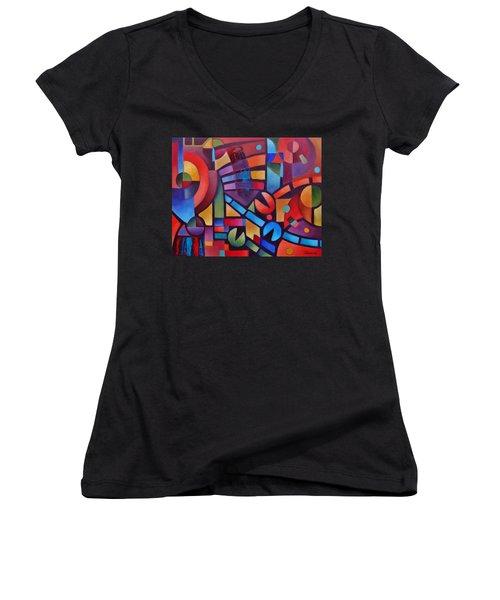 Geometric Music Women's V-Neck (Athletic Fit)