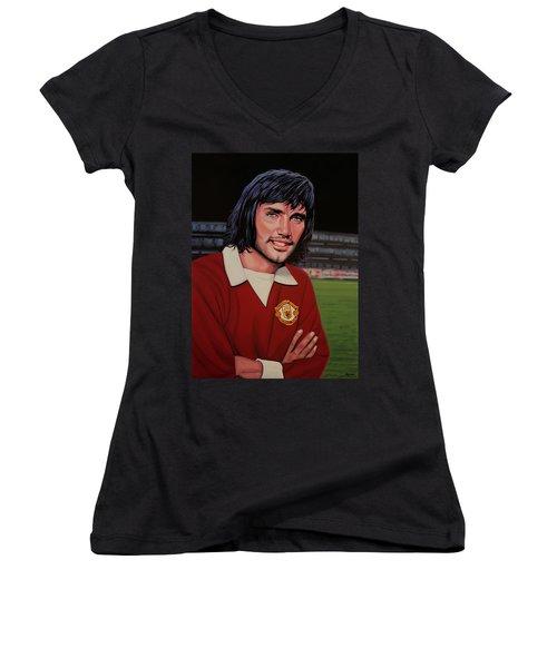 George Best Painting Women's V-Neck T-Shirt (Junior Cut) by Paul Meijering