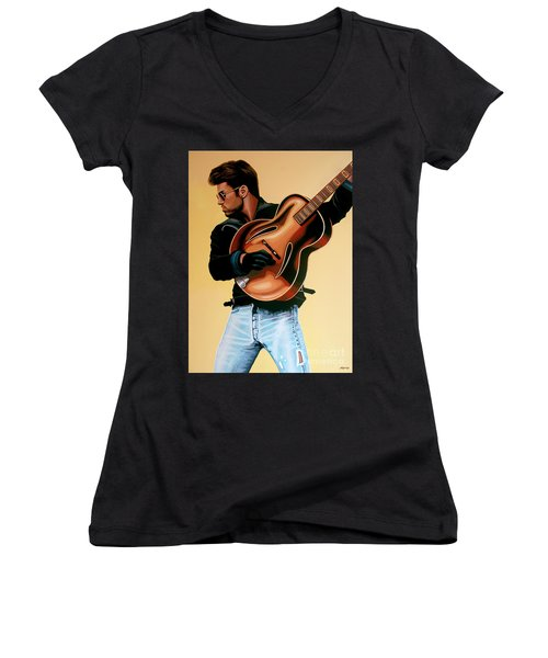George Michael Painting Women's V-Neck T-Shirt (Junior Cut) by Paul Meijering