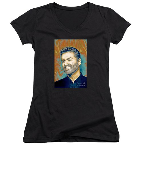 George Michael - Tribute  Women's V-Neck (Athletic Fit)