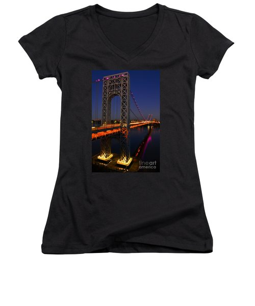 George Washington Bridge At Night Women's V-Neck T-Shirt (Junior Cut) by Zawhaus Photography