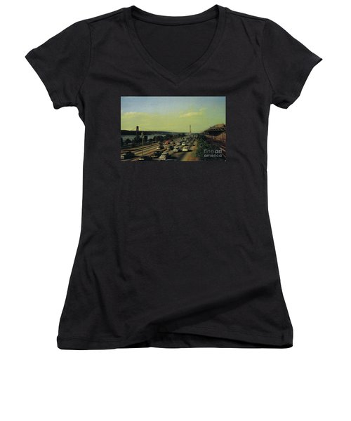 Women's V-Neck T-Shirt featuring the photograph George Washington Bridge  by Cole Thompson