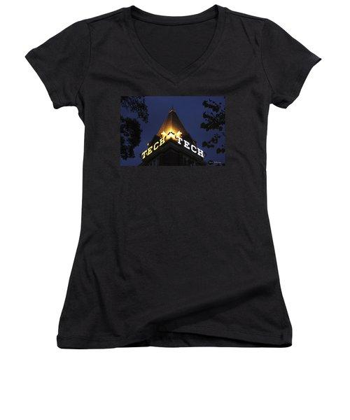 Georgia Tech Atlanta Georgia Art Women's V-Neck T-Shirt (Junior Cut) by Reid Callaway