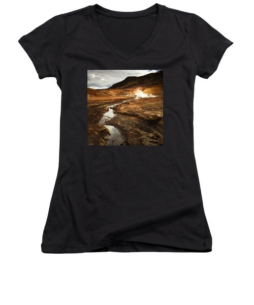 Geothermal Area Krysuvik In Iceland Women's V-Neck T-Shirt