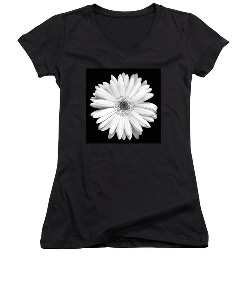 Single Gerbera Daisy Women's V-Neck T-Shirt (Junior Cut) by Marilyn Hunt