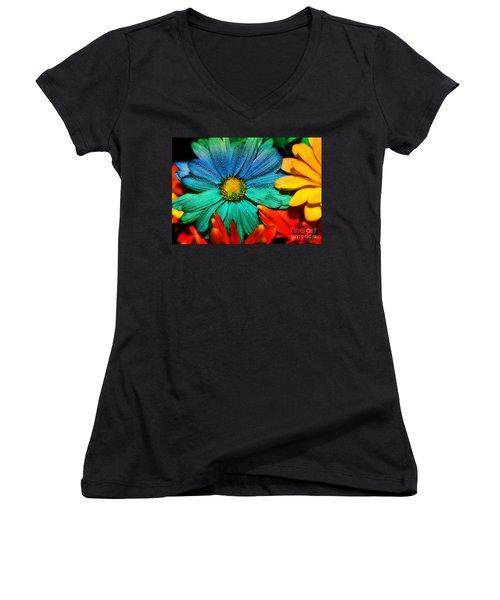 Gerbera Daisy Women's V-Neck T-Shirt (Junior Cut) by Tina LeCour