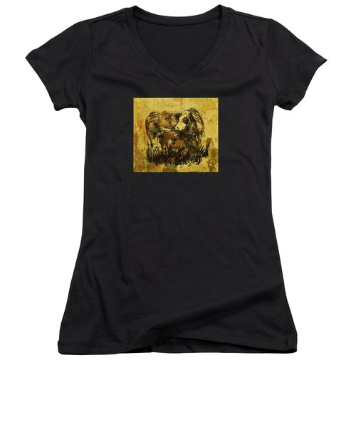 German Fleckvieh Bull 21 Women's V-Neck T-Shirt (Junior Cut) by Larry Campbell