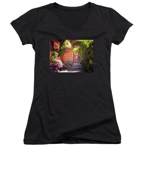 Women's V-Neck featuring the photograph German Garden by Andrea Platt