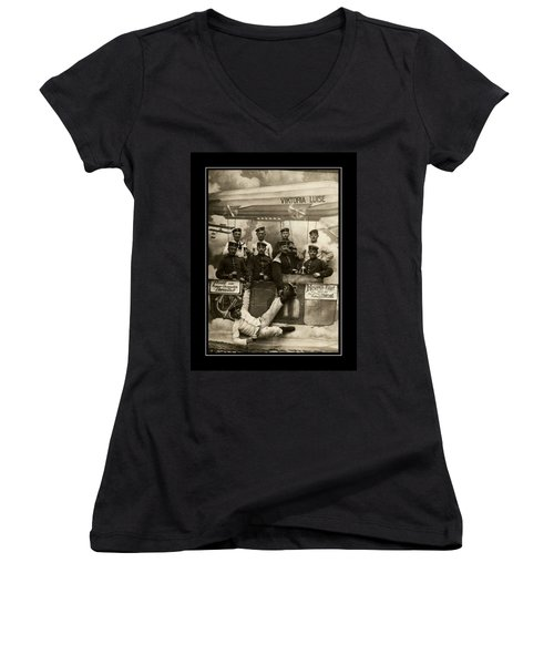 German Military Officers Zeppelin Crew 1913 Women's V-Neck (Athletic Fit)