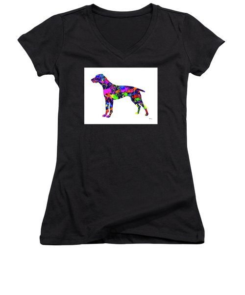 German Shorthaired Pointer Paint Splatter Women's V-Neck (Athletic Fit)