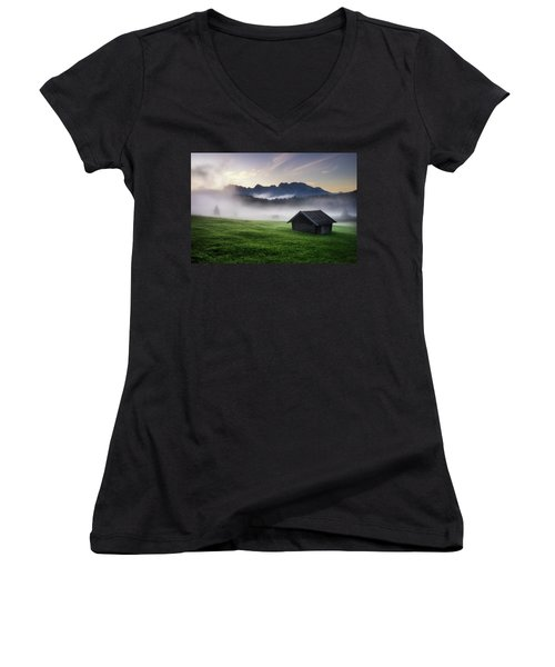 Geroldsee Forest With Beautiful Foggy Sunrise Over Mountain Peaks, Bavarian Alps, Bavaria, Germany. Women's V-Neck (Athletic Fit)