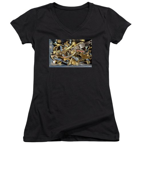 Women's V-Neck T-Shirt (Junior Cut) featuring the photograph Get A Handle On It by Christopher Holmes