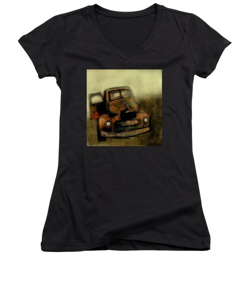 Getaway Truck Women's V-Neck T-Shirt (Junior Cut) by Jim Vance