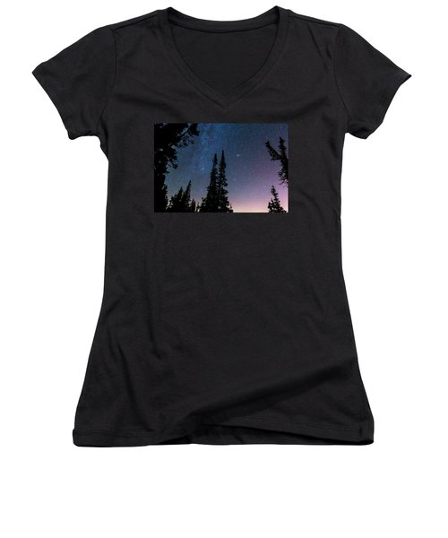Women's V-Neck T-Shirt (Junior Cut) featuring the photograph Getting Lost In A Night Sky by James BO Insogna