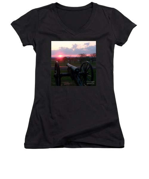 Gettysburg Cannon Women's V-Neck T-Shirt (Junior Cut) by Eric  Schiabor