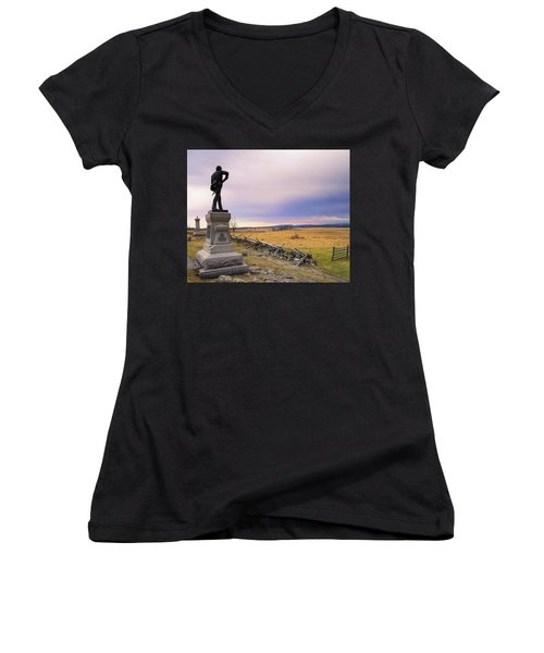Women's V-Neck T-Shirt (Junior Cut) featuring the photograph Gettysburg Monument I by Marianne Campolongo