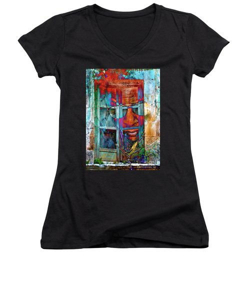 Ghost Goes Through Wall Women's V-Neck (Athletic Fit)
