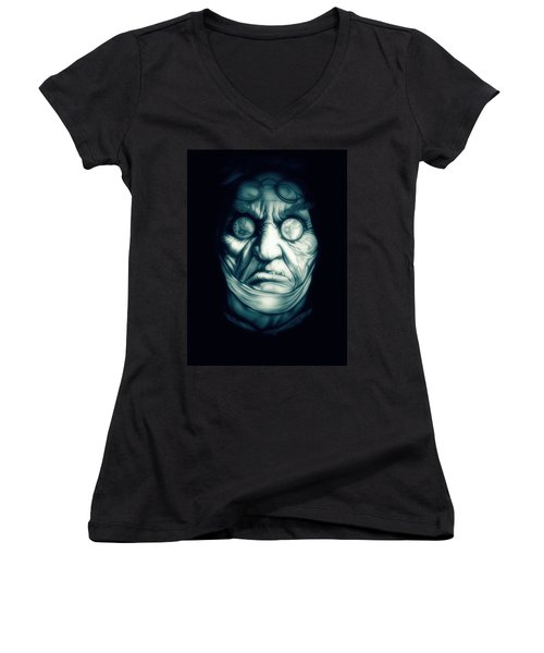 Ghost Marley Women's V-Neck T-Shirt (Junior Cut) by Fred Larucci