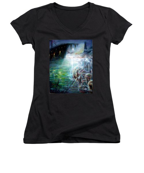 Women's V-Neck T-Shirt (Junior Cut) featuring the painting Ghost Ship 2 by Heather Calderon