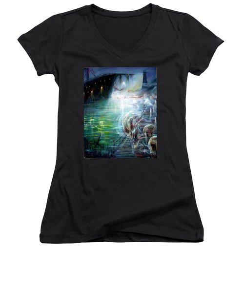 Ghost Ship 2 Women's V-Neck T-Shirt (Junior Cut) by Heather Calderon