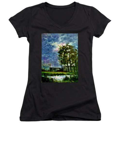 Ghost Town.. Women's V-Neck T-Shirt (Junior Cut) by Cristina Mihailescu