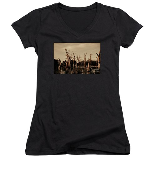 Women's V-Neck T-Shirt (Junior Cut) featuring the photograph Ghostly Trees V2 by Douglas Barnard
