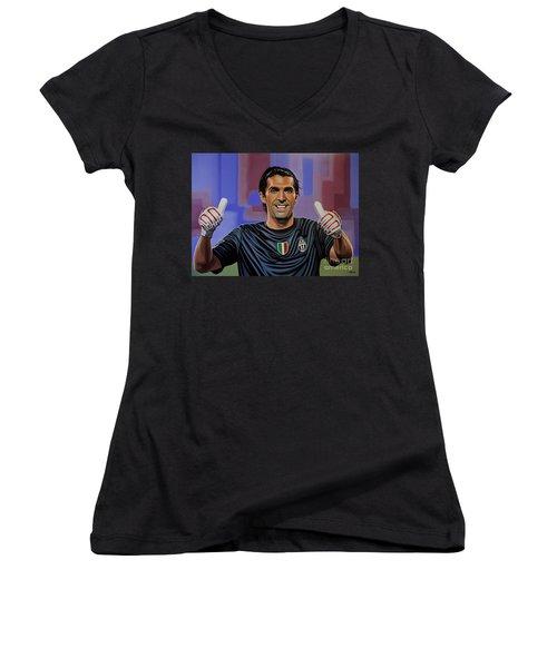 Gianluigi Buffon Painting Women's V-Neck T-Shirt (Junior Cut) by Paul Meijering
