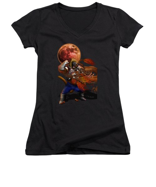 Giant Monkey Vs Shen Long Women's V-Neck T-Shirt