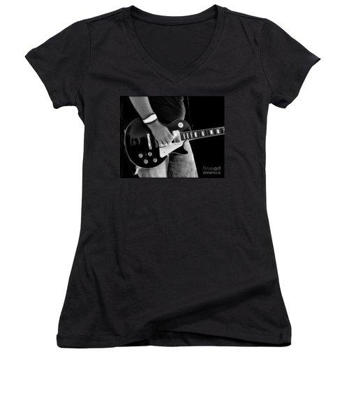 Gibson Les Paul Guitar  Women's V-Neck T-Shirt (Junior Cut) by Randy Steele