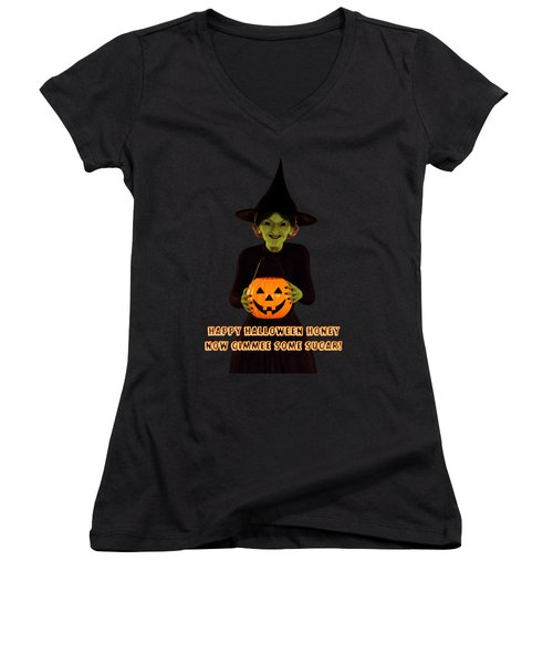 Gimmee Some Sugar Witch Women's V-Neck T-Shirt (Junior Cut) by Methune Hively