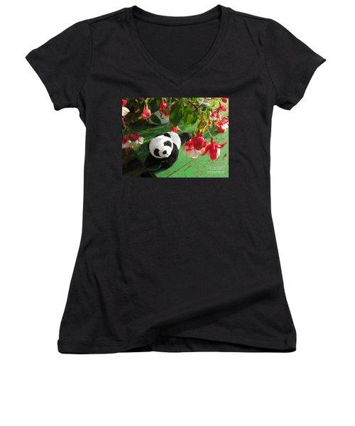 Women's V-Neck T-Shirt (Junior Cut) featuring the photograph Ginny Under The Red And White Fuchsia by Ausra Huntington nee Paulauskaite