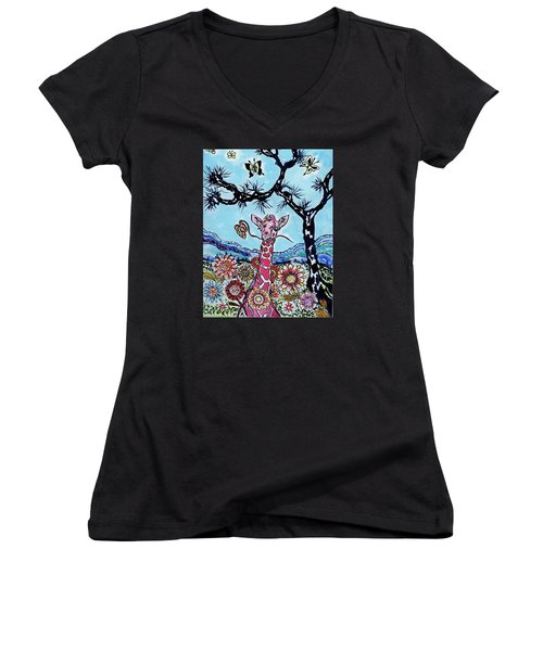 Women's V-Neck T-Shirt (Junior Cut) featuring the painting Giraffe In Garden by Connie Valasco