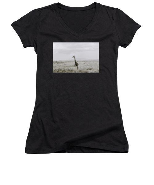 Giraffe Women's V-Neck T-Shirt (Junior Cut) by Shaun Higson