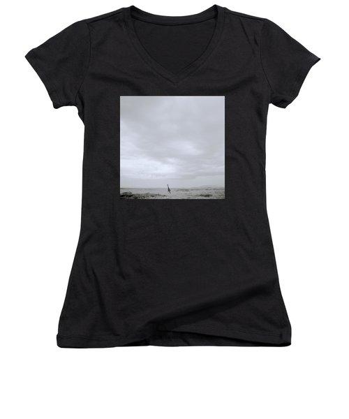 Giraffe Under Big Sky Women's V-Neck T-Shirt (Junior Cut) by Shaun Higson