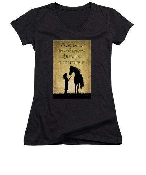 Girl And Horse Silhouette Women's V-Neck