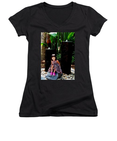 Girl On Rocks Women's V-Neck T-Shirt